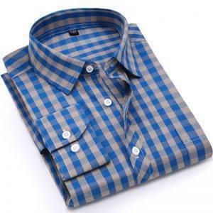 Men Plaid Shirt 100% Cotton Shirt