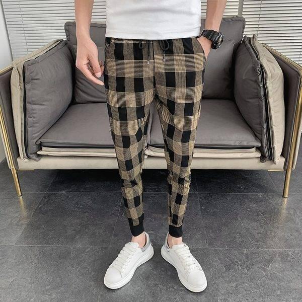 Korean Summer Men Plaid Pants Brand New Slim Fit Hip Hop Harem Pants Men Ankle Length Streetwear Casual Joggers Men Clothing 34